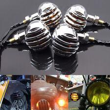 4x Chrome Bullet Motorcycle Turn Signal Light Blinker Amber Bulb Indicator Lamp