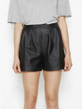 Nana Judy Black Synthetic Leather Harmony Pleat Shorts High Waisted 6 8 10