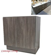 "30"" European Style Double Door Bathroom Cabinet Vanity Walnut Wood Grain Pattern"