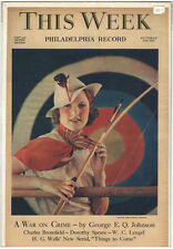 Rare Orig VTG 1935 This Week Alfred Cheney Johnston Archery Cover Only Art Print