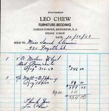 1953 BRIDGETON NEW JERSEY*NJ*LEO CHEW*CARLLS CORNER*FURNITURE BILLHEAD RECEIPT