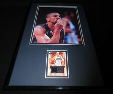 Jason Kidd Framed 11x17 Game Used Floor & Photo Display Nets Blowing Kiss