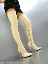 MORI OVERKNEE HIGH SEXY HEELS ITALY STIEFEL BOOTS STRETCH LEATHER BEIGE NUDE 38
