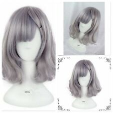 Anime Cosplay Party Grey Women's Lady Lolita Medium Curly Wavy Hair Costume Wigs