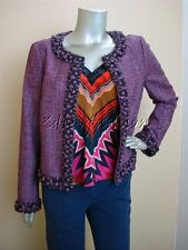 $2980 New with Tags ESCADA Purple Ribbon Button Trim Tweed Boucle Jacket 8 38