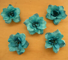 """5 Piece Lot  2.5"""" Turquoise Apple Blossoms Flower Hair Clips,DanceWedding,Prom"""