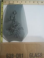 FREE US SHIP OK Touch Lamp Replacement Glass Panel Gray Rose Flower 638-DR1