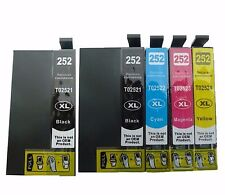 5-Pk/Pack T252XL Ink Cartridge For Epson WorkForce WF-3620 3640 7110 7610 7620