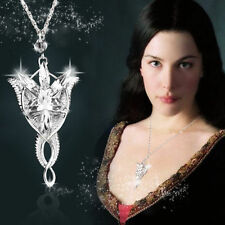 The Lord of The Rings Arwen Evenstar Necklace Clear Crystal Silver Chain Jewelry
