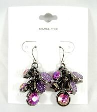 New Hematite Earrings with Purple & Violet Stones NWT #E1221