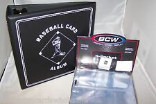 "1 BCW 3"" Black Baseball Card Storage D-Ring Album Binder & 50 Pages 9 Pocket"