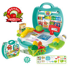 Kids Educational Pretend Role Playset Supermarket Cash Register Cashier Suitcase