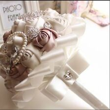 """HANDMADE"" Rose Flower Wedding Bouquet Brooch Crystal Pearls SILK Bridal Flowers"