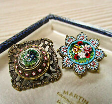 VINTAGE JEWELLERY ITALIAN MICRO MOSAIC BROOCH/PIN/BUTTON