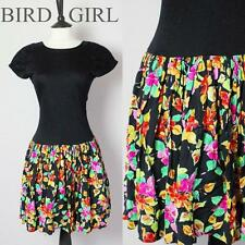 NEW WAVE 1980S VINTAGE BLACK JERSEY FLORAL FULL CIRCLE SKIRT MINI DRESS 10 S