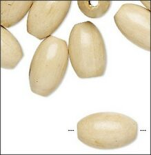 Large Natural Color Oval Wood Beads (6)