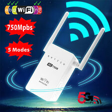 2.4/5G Wireless WiFi 750Mbps Dual Band Repeater Router AP Range Extender US Plug