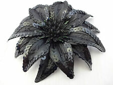 Black sequin flower hair clip ponytail band pin shimmer dancer