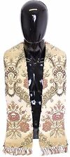 NWT $550 DOLCE & GABBANA Scarf Men's Beige Silk Necktie Baroque Pattern Logo