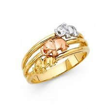 EJLRRG1706 - Solid 14K tricolor gold good luck elephants ring