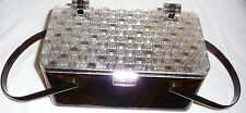 Vtg LUCITE BOX PURSE TORTOISE SHELL APPEARANCE ACRYLIC CRYSTAL CUT CLEAR LID