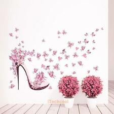 Pink Butterfly High Heel Wall Stickers Bedroom Living Room Back Wall Mural Decor