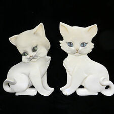 "2 White Kitten Cat Wall Sculptures Hangings 7"" Hand Painted Glossy Tiny Chip"