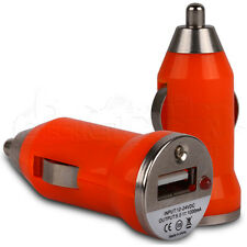 Orange Compact Micro In-Car USB Charger for the Apple iPhone 5 Handset
