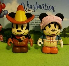 "DISNEY Vinylmation 3"" Park Set 1 Mickey's Wild West Lot Mickey Minnie Mouse"