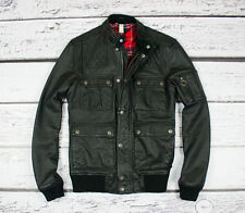 ASOS BOMBER AVIATOR CARGO EXCELLENT REAL GENUINE LEATHER JACKET COAT S SMALL