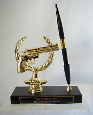 GUN TROPHY METAL 38 CAL PISTOL PEN SET HOLDER TROPHY FIREARM 38 CAL PISTOLTROPHY