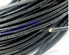 Wholesale Lot 100 Meters 2MM Black Round Oxhide Real Leather Cord 1