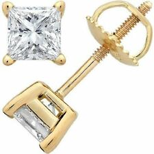 1.00CT Princess Cut Solitaire Lab-Created Diamond Earrings 14k Yellow Gold