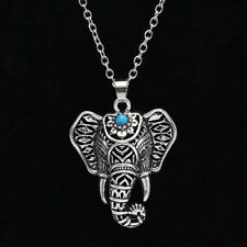 Womens vintage Silver Elephant BEADE pendant chain choker Fashion charm Necklace