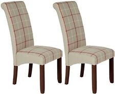 New Serene Natural Tartan Fabric Dining Chair with Walnut Legs (Pair)