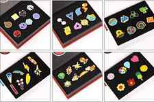 Set Anime Pokémon Pocket Monster Kanto Gym Badges Set of 8 Metal Pins 48pc +BOX
