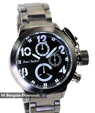 "mens big heavy gunmetal military clubbing watch designer black dial 8"" bracelet"