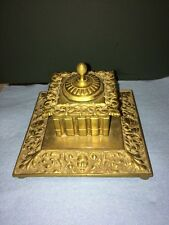 Vintage Brass Inkwell With Cover Heavy Solid Construction