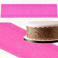 Silicone Edible Sugar Lace Mat Mold Scalloped Swag Border Doily Cake Lace Mold