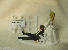 Wedding Bridal Winter Cake Topper SNOWFLAKE Just Married Sign Bride w Tulle Veil