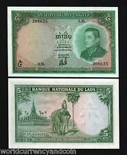 LAOS LAO 5 KIP P9 1962 ELEPHANT TEMPLE KING UNC ANIMAL CURRENCY MONEY BILL NOTE