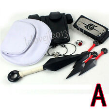 9pc Cosplay Anime Naruto Prop Set Headband Necklace Ring Weapon Waist Bag Gift