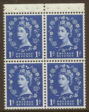 SB27 1d Wilding booklet pane perf type P UNMOUNTED MNT/MNH