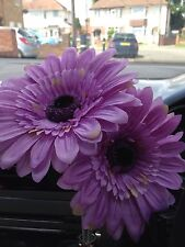 2  LARGE LILAC DAISY GERBERAS VW BEETLE, ANY CAR DASH BUD FLOWER, UNIVERSAL