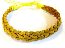 Bracelet Brésilien en Cuir Amitié Friendship Porte Bonheur Leather jaune