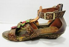 """Corkys Elite """"Mesa"""" Brown Hand Painted Embellished Leather Sandles Shoes Size 7"""