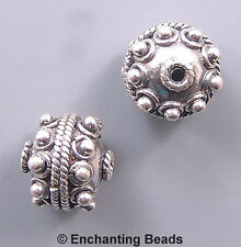 Bali Sterling Silver Twist Dotted Round  Bead B428 (2) 10mm