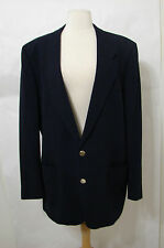 LANVIN Navy Blue Wool Signature Stamp 2 Gold Button Sport Coat 44