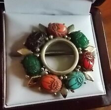 Vintage Gold tone Molded Plastic Scarab Round Brooch Pin Red Green Blue 10b 66