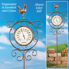 French Country Rooster Thermometer Garden Stake Outdoor Yard Lawn Home Decor New
